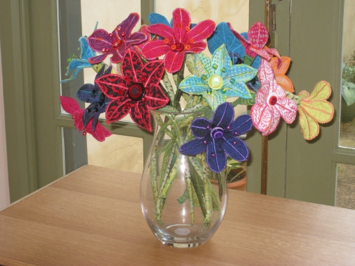 Liz's fabric flowers
